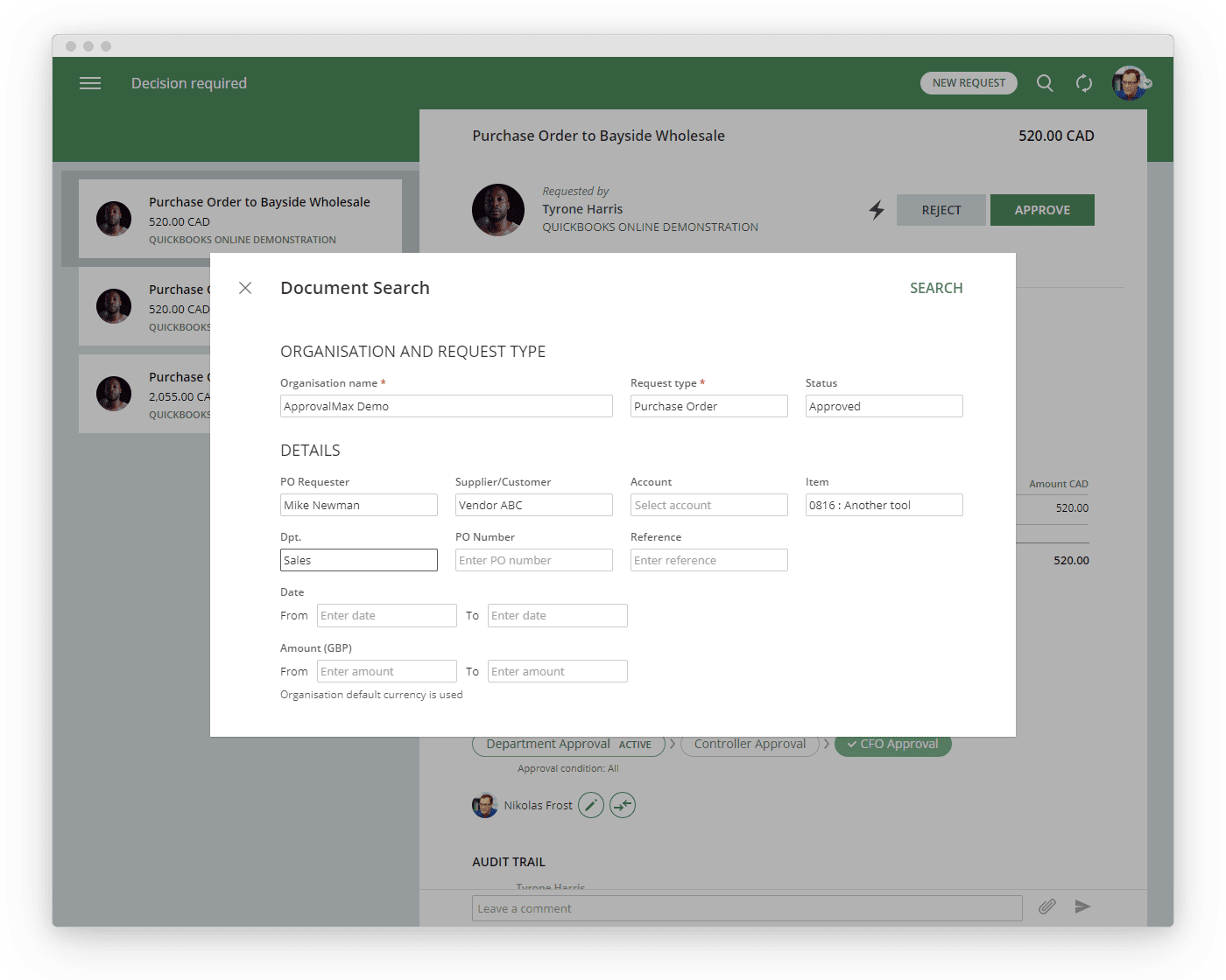 Sequential approval workflow for Purchase Order approval
